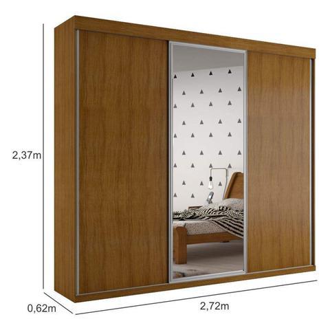 Imagem de Guarda Roupa Casal 3 Portas de Correr Grécia com espelho central Imbuia Bianchi Móveis