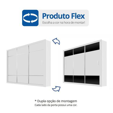 Imagem de Guarda Roupa Casal 3 Portas de Correr Lotse Carioca Móveis Flex Color Branco/Preto