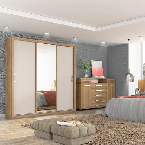 Imagem de Guarda Roupa Casal 3 Portas Residence 32230 Amêndola Touch / Off White Demóbile