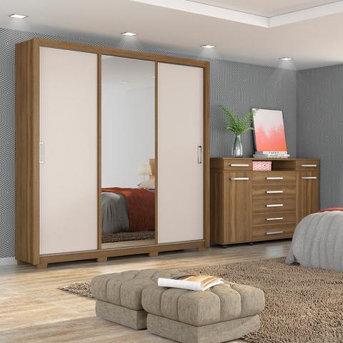 Imagem de Guarda Roupa Casal 3 Portas Residence c/ Pés 32230PE Amêndola Touch / Off White Demóbile Maben