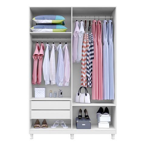 Imagem de Guarda roupa casal 4 Portas Sonata Branco - Kaiki Móveis