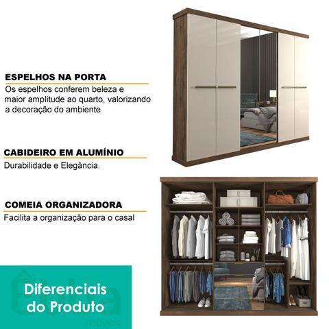 Imagem de Guarda Roupa Casal 6 portas com espelho Linhares Panan Café/Off White