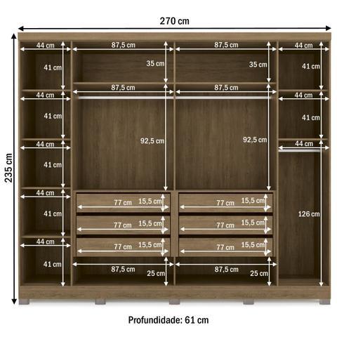 Imagem de Guarda-roupa Casal 6 Portas E 6 Gavetas G540-frow Freijó/ Off White/espelho - Kappesberg