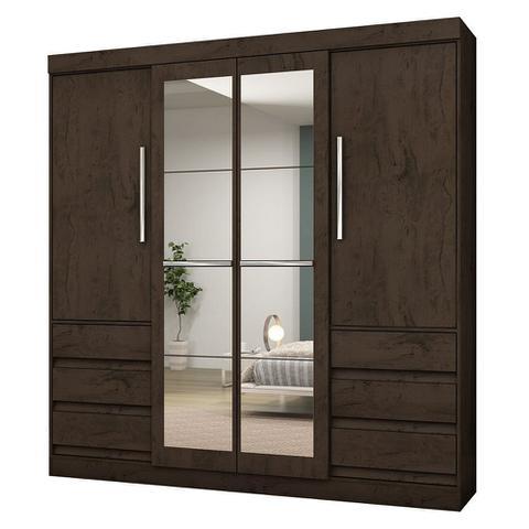 Imagem de Guarda-Roupa Casal Atraente 4 Portas 6 Gavetas com Espelho Araplac