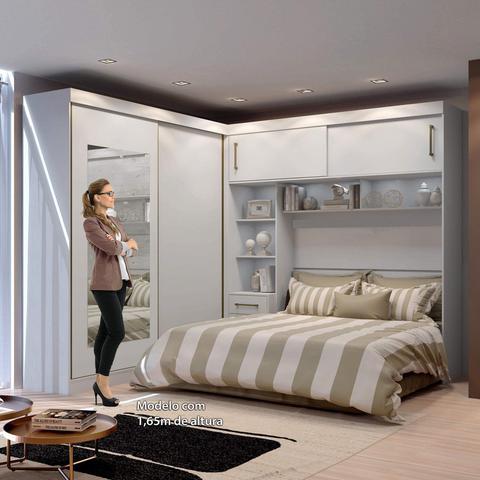 Imagem de Guarda Roupa Casal com Cabeceira Queen e Espelho 4 Portas de Correr 3 Gavetas Florença Espresso Móveis Branco