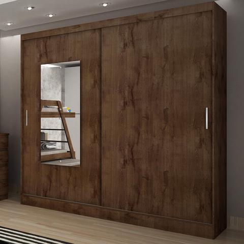 Imagem de Guarda Roupa Casal com Espelho 2 Portas 2 Gavetas Ônix Novo Horizonte Canela