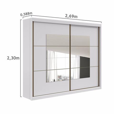 Imagem de Guarda Roupa Casal com Espelho 2 Portas 6 Gavetas Toronto New Móveis Lopas Branco