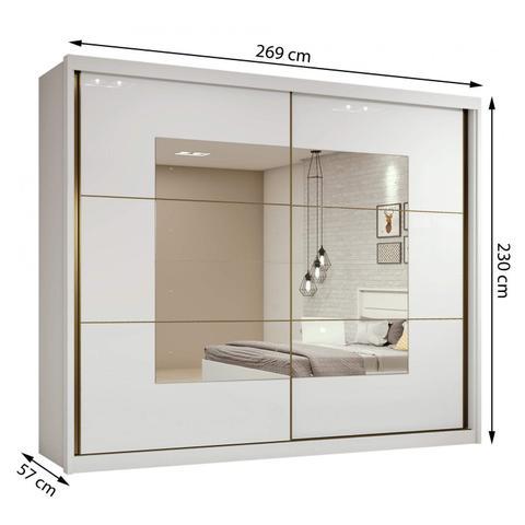 Imagem de Guarda Roupa Casal com Espelho 2 Portas de Correr 6 Gavetas Toronto Plus Espresso Móveis Branco