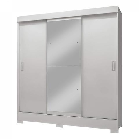 Imagem de Guarda Roupa Casal com Espelho 3 Portas 2 Gavetas Atenas Siena Móveis Branco