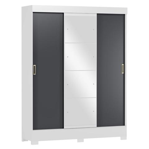 Imagem de Guarda Roupa Casal com Espelho 3 Portas 2 Gavetas Atenas Yescasa Branco