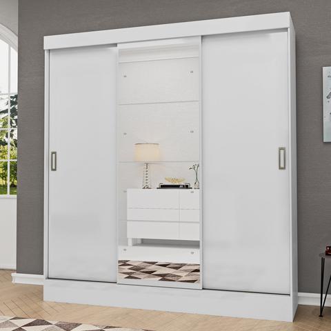 Imagem de Guarda Roupa Casal com Espelho 3 Portas 2 Gavetas Istambul Espresso Móveis Branco