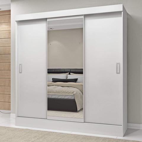 Imagem de Guarda Roupa Casal com Espelho 3 Portas 2 Gavetas Istambul Siena Móveis Branco