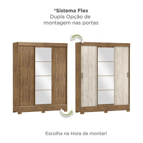 Imagem de Guarda Roupa Casal com Espelho 3 Portas 2 Gavetas Istambul Yescasa Ipê Tex/Vanila Tex