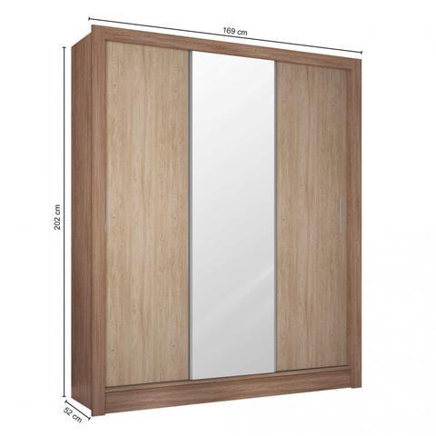Imagem de Guarda Roupa Casal com Espelho 3 Portas 2 Gavetas Wood Siena Móveis Nogal