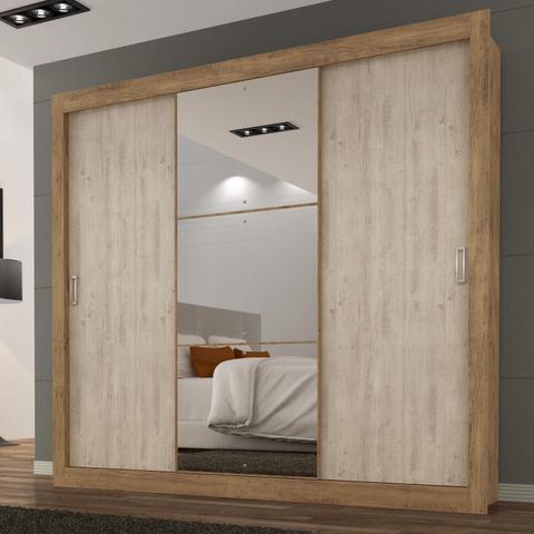 Imagem de Guarda Roupa Casal com Espelho 3 Portas 3 Gavetas Flex Color Smart Espresso Móveis Ipê Tex/Vanilla Tex