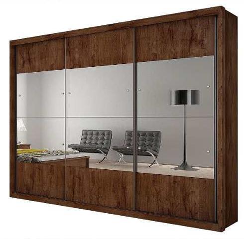 Imagem de Guarda Roupa Casal com Espelho 3 Portas 3 Gavetas Hórizon Novo Horizonte