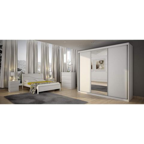 Imagem de Guarda Roupa Casal com Espelho 3 Portas 4 Gavetas Paradizzo Plus Novo Horizonte Branco