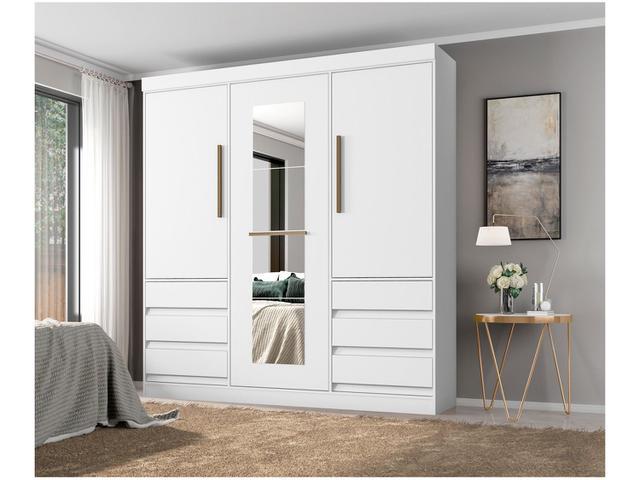 Imagem de Guarda-roupa Casal com Espelho 3 Portas 6 Gavetas