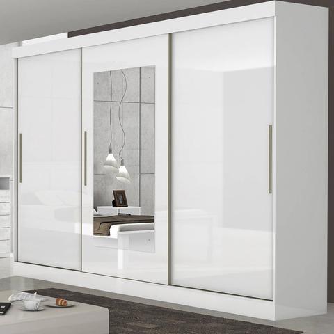 Imagem de Guarda Roupa Casal com Espelho 3 Portas 6 Gavetas Montebello Móveis Lopas Branco