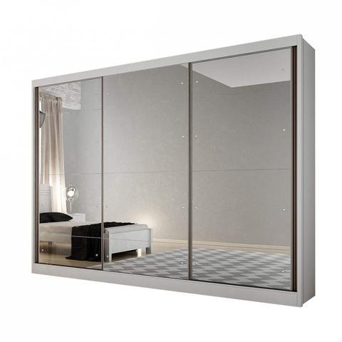 Imagem de Guarda Roupa Casal com Espelho 3 Portas 8 Gavetas Passion Novo Horizonte Branco