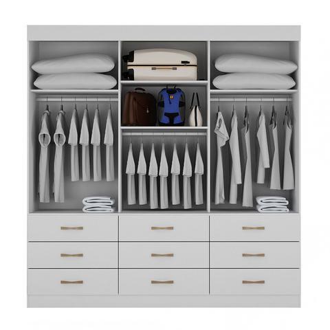 Imagem de Guarda Roupa Casal com Espelho 3 Portas 9 Gavetas Turim Bianchi Móveis Branco