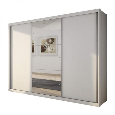 Imagem de Guarda Roupa Casal com Espelho 3 Portas de Correr 4 Gavetas Imperador Siena Móveis Branco
