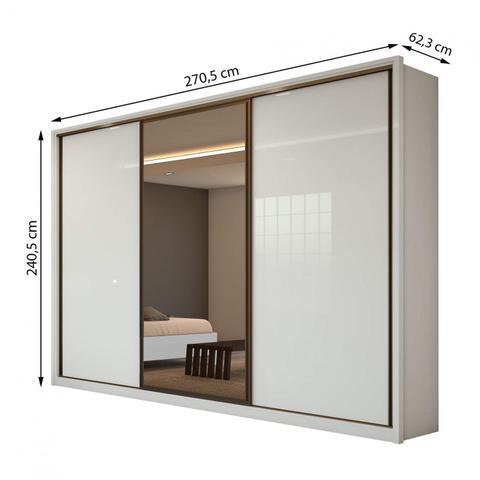 Imagem de Guarda Roupa Casal com Espelho 3 Portas de Correr 6 Gavetas Spazio Glass Espresso Móveis Branco