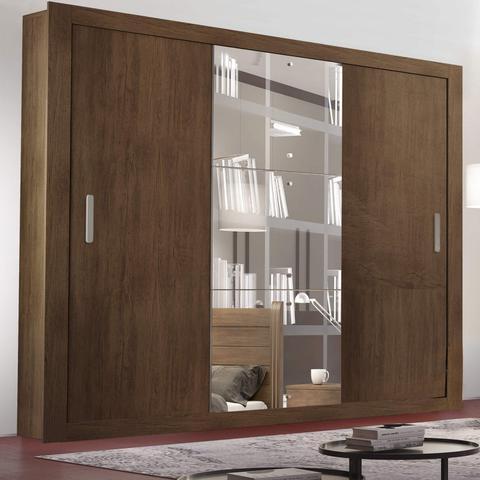 Imagem de Guarda Roupa Casal com Espelho 3 Portas de Correr Alice Luxo Espresso Móveis Café