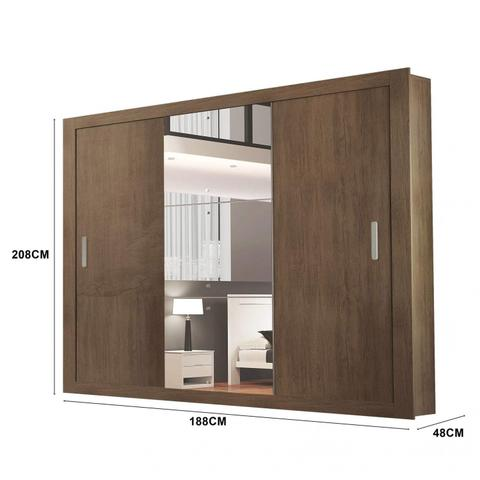 Imagem de Guarda Roupa Casal com Espelho 3 Portas de Correr Alice Luxo Siena Moveis Café