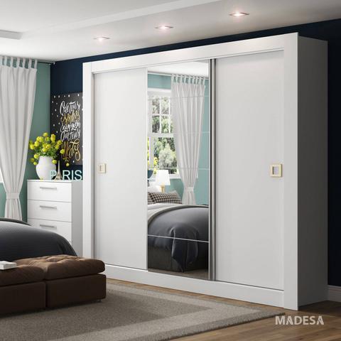 Imagem de Guarda Roupa Casal com Espelho 3 Portas de Correr Campos Madesa Branco