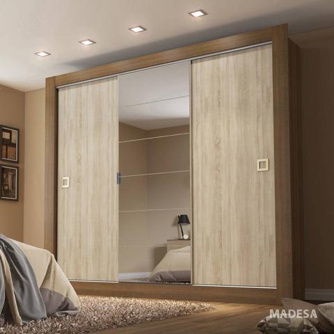 Imagem de Guarda Roupa Casal com Espelho 3 Portas de Correr Campos Madesa Rustic/Acácia