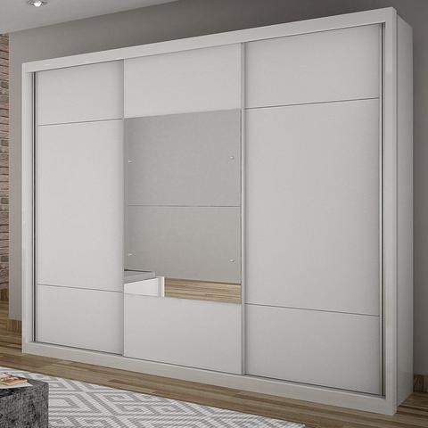 Imagem de Guarda Roupa Casal com Espelho 3 Portas de Correr Elegance Novo Horizonte Branco
