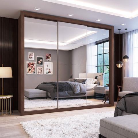 Imagem de Guarda Roupa Casal com Espelho 3 Portas de Correr Flórida Espresso Móveis Malbec