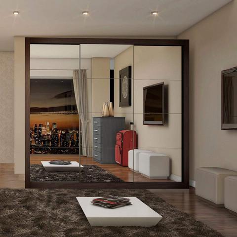 Imagem de Guarda Roupa Casal com Espelho 3 Portas de Correr Flórida Siena Móveis Malbec