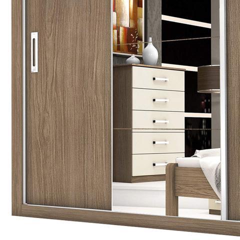 Imagem de Guarda Roupa Casal com Espelho 3 Portas de Correr Lara Espresso Móveis Avelã