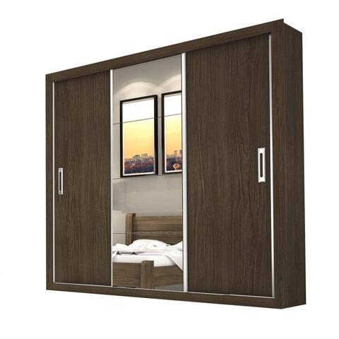 Imagem de Guarda Roupa Casal com Espelho 3 Portas de Correr Lara Espresso Móveis Malbec