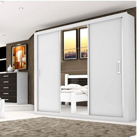 Imagem de Guarda Roupa Casal com Espelho 3 Portas de Correr Lara Siena Móveis Branco