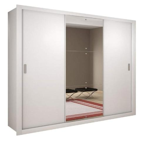 Imagem de Guarda Roupa Casal com Espelho 3 Portas de Correr Luna Rufato Branco