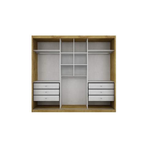 Imagem de Guarda Roupa Casal com Espelho 3 Portas de Correr Paradizzo Gold Siena Móveis Branco