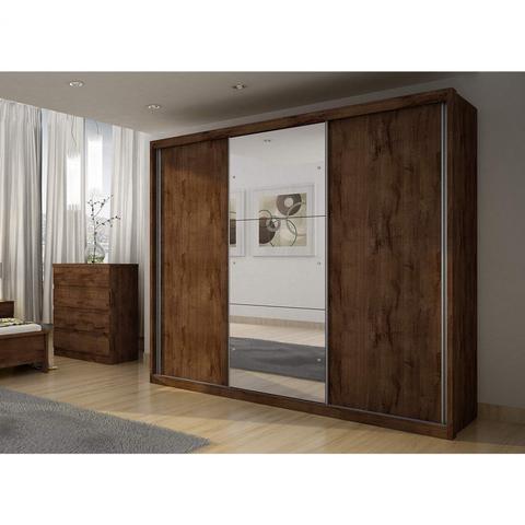 Imagem de Guarda Roupa Casal com Espelho 3 Portas de Correr Paradizzo Gold Siena Móveis Canela