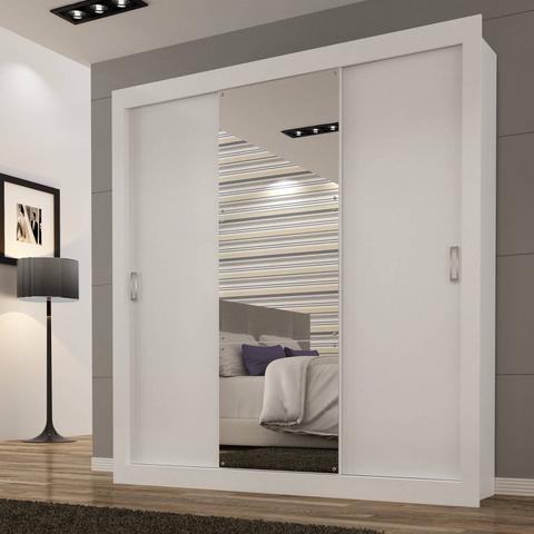 Imagem de Guarda Roupa Casal com Espelho 3 Portas de Correr Smart Siena Móveis Branco
