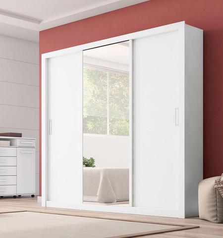Imagem de Guarda Roupa Casal com Espelho 3 Portas Residence Demóbile Branco
