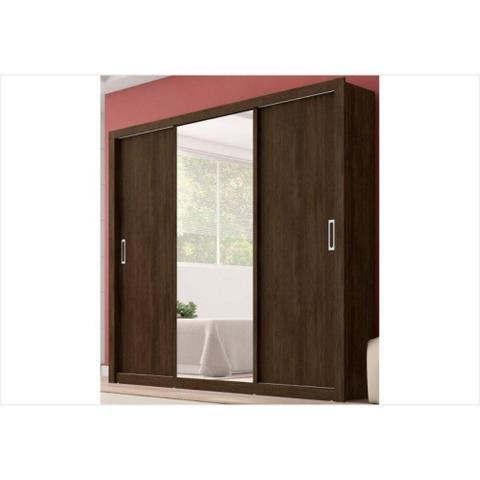 Imagem de Guarda Roupa Casal com Espelho 3 Portas Residence Demóbile Ebano Touch