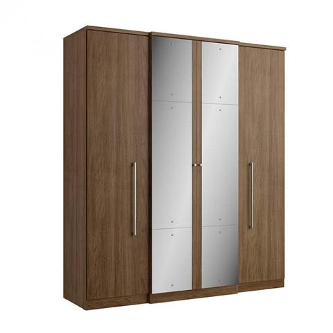 Imagem de Guarda Roupa Casal com Espelho 4 Portas 2 Gavetas Splendore Plus Glass THB Móveis Carvalo Sensitive