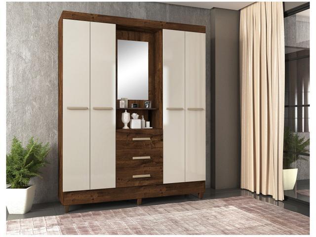Imagem de Guarda-roupa Casal com Espelho 4 Portas 3 Gavetas
