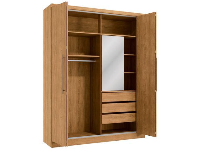Imagem de Guarda-roupa Casal com Espelho 4 Portas de Correr