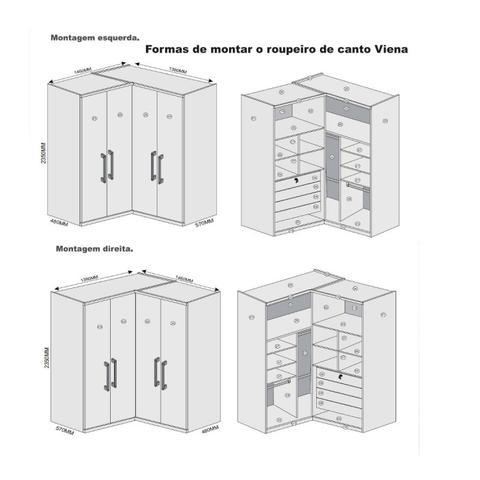 Imagem de Guarda Roupa Casal de Canto 4 Portas 4 Gavetas Viena Móveis Europa Branco Acetinado