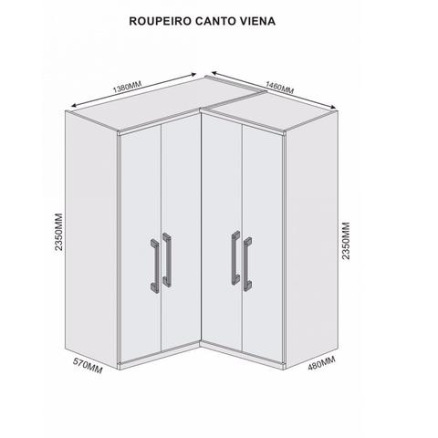 Imagem de Guarda Roupa Casal de Canto 4 Portas 4 Gavetas Viena Móveis Europa Braúna