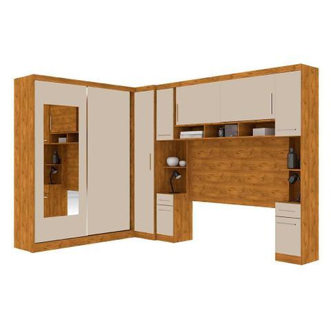 Imagem de Guarda roupa casal de canto com espelho 9 portas, muitos nichos e 4 gavetas Nature Off White