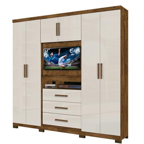 Imagem de Guarda roupa casal Dubai 6 Portas 3 Gavetas Multifuncional com Painel para Tv de 32 -  Moval - Castanho/Baunilha